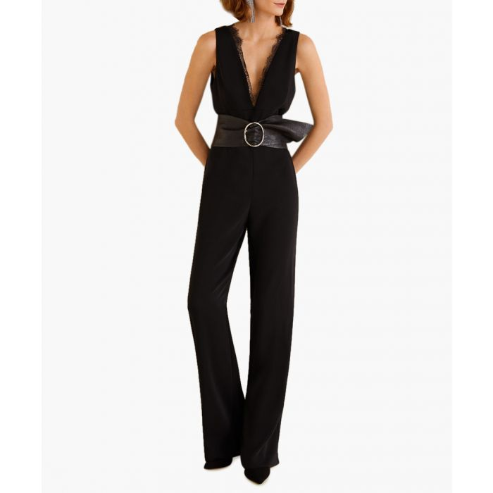 Image for Black lace V-neckline jumpsuit