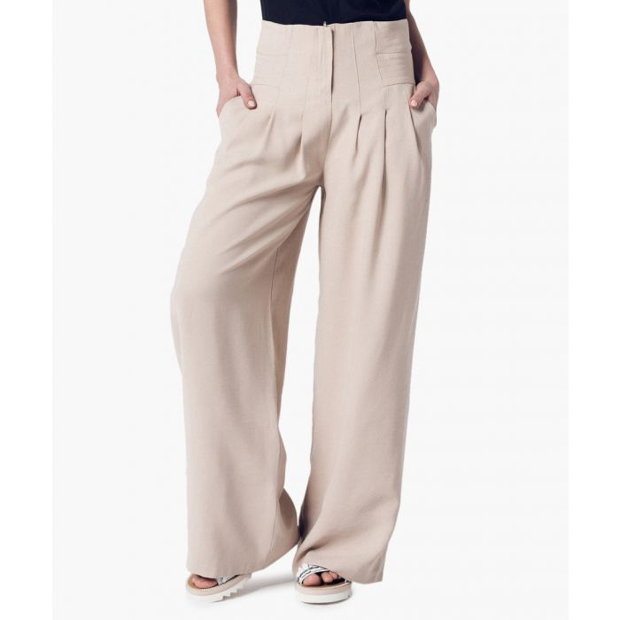 Image for Beige high-waist palazzo trousers