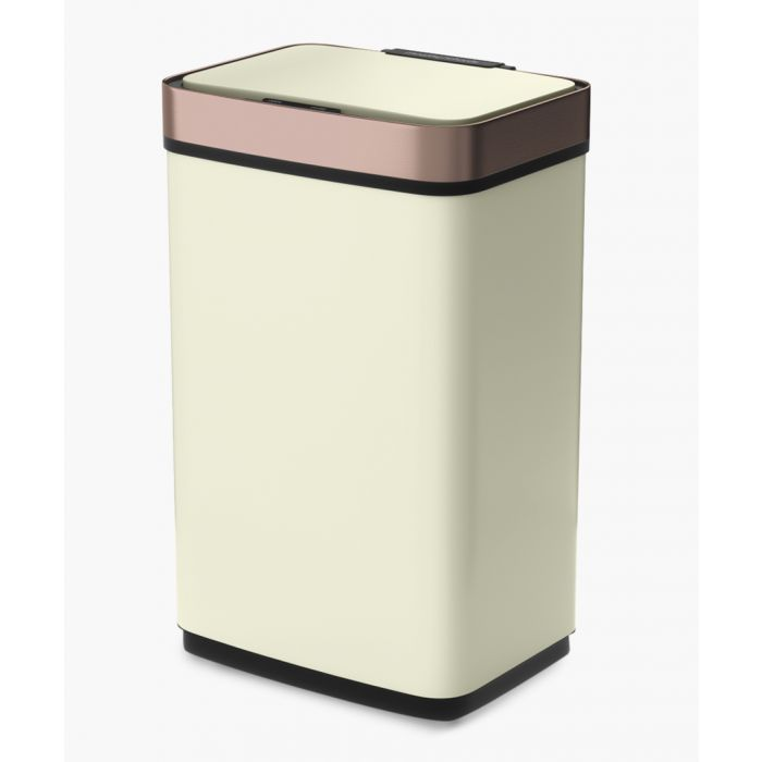 Image for Ivory and rose-gold sensor activated bin 60L