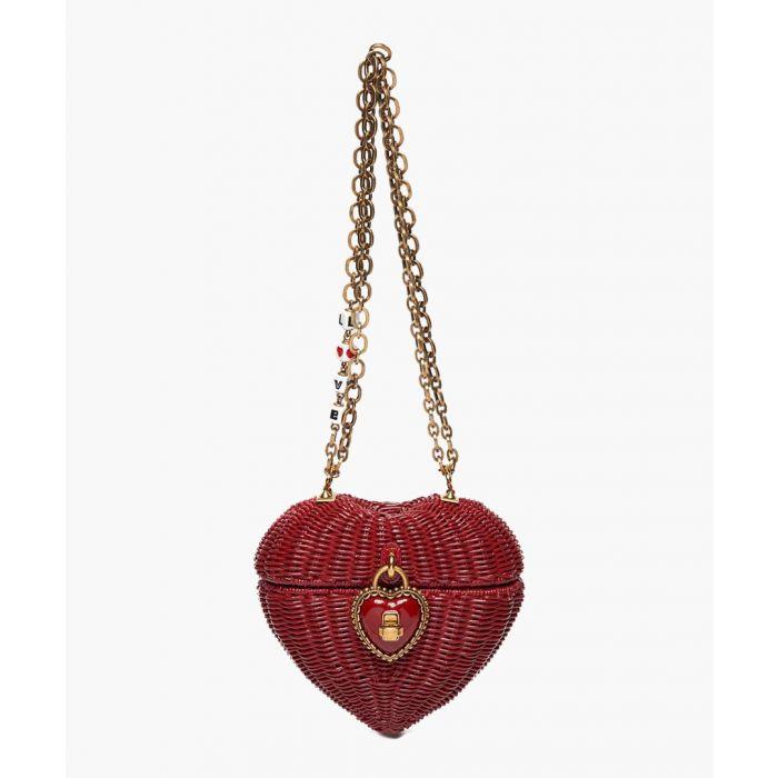 Image for Heart Box red wicker shoulder bag