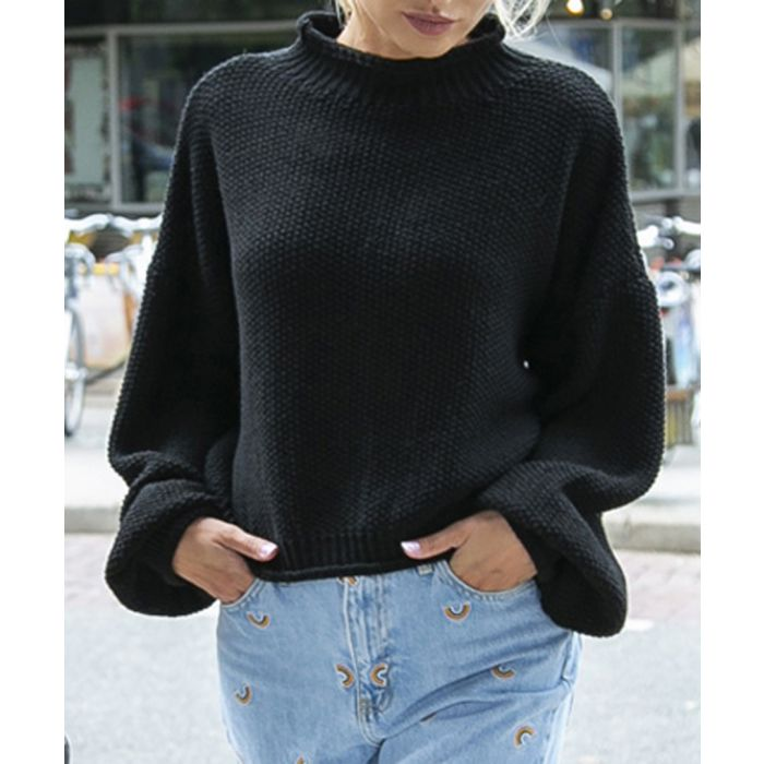 Image for Black knitted wool blend sweater