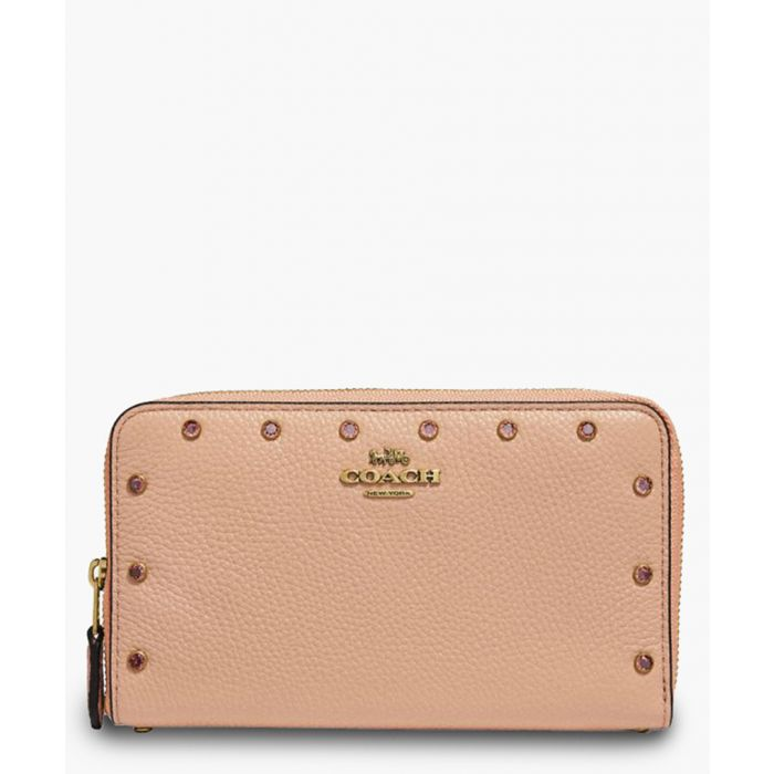 Image for Cryst nude pink leather clutch