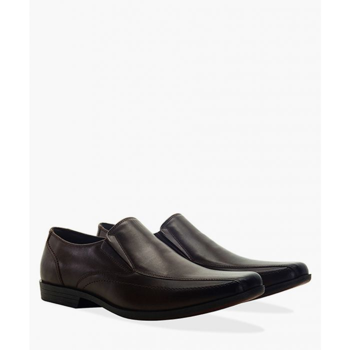 Image for Brown faux-leather twin gusset loafers