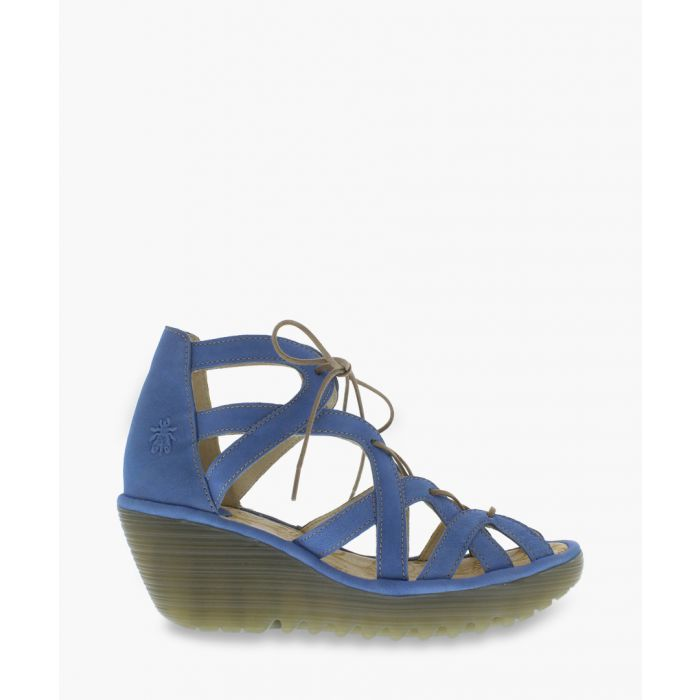 Image for Blue leather cut-out sandals