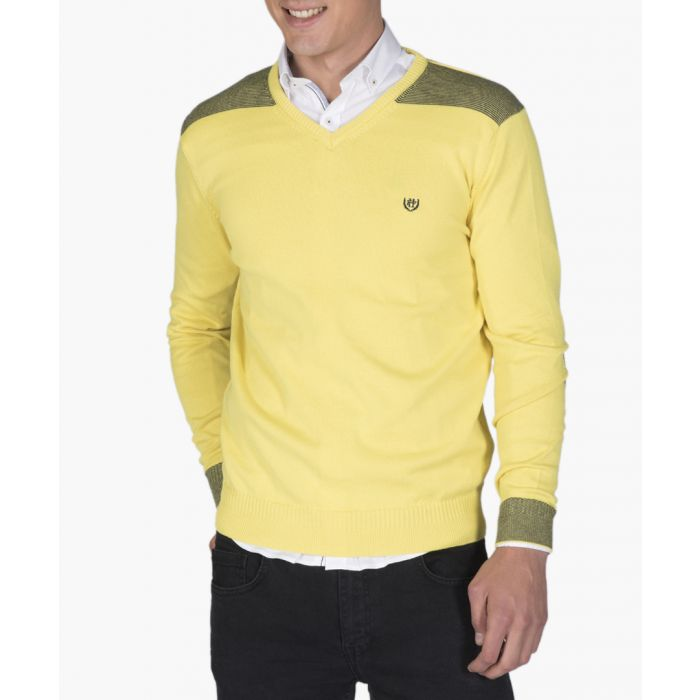Image for Yellow and navy blue cotton V-neck jumper
