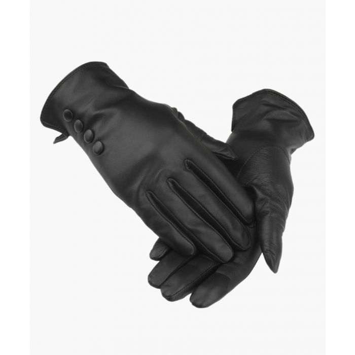 Image for Black 4 Button Leather Gloves