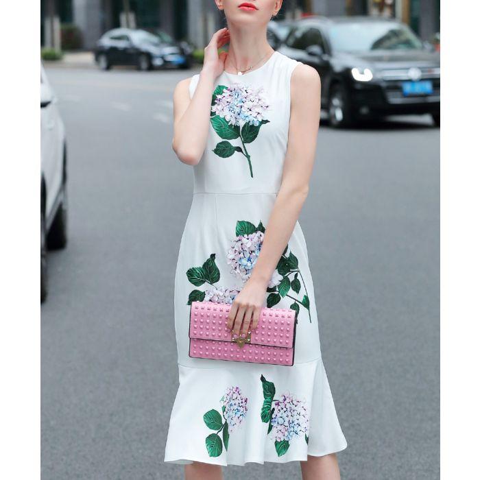 Image for White & green flower print dress