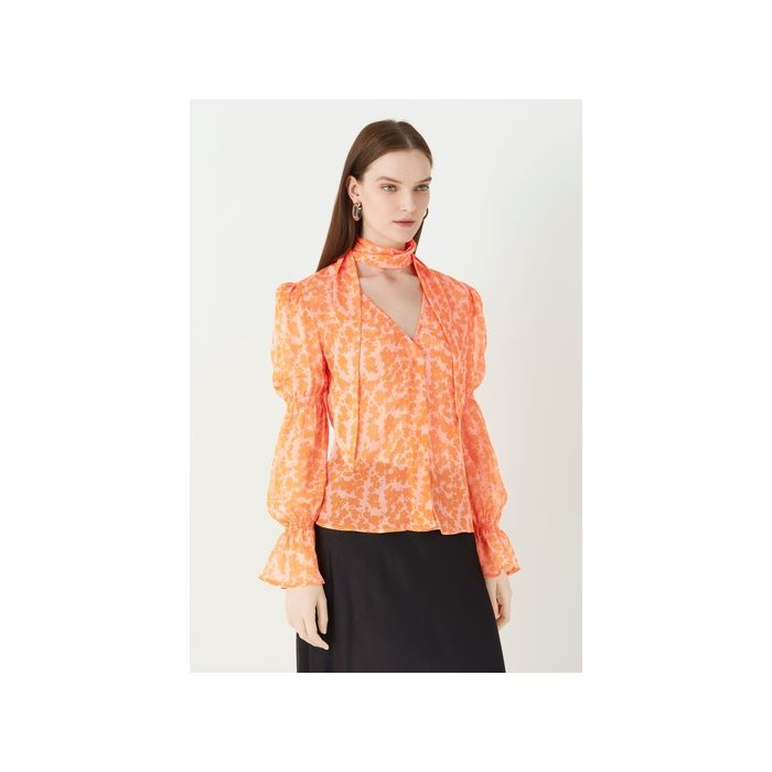 Image for Maygrove Coral Printed Georgette Top - Multi