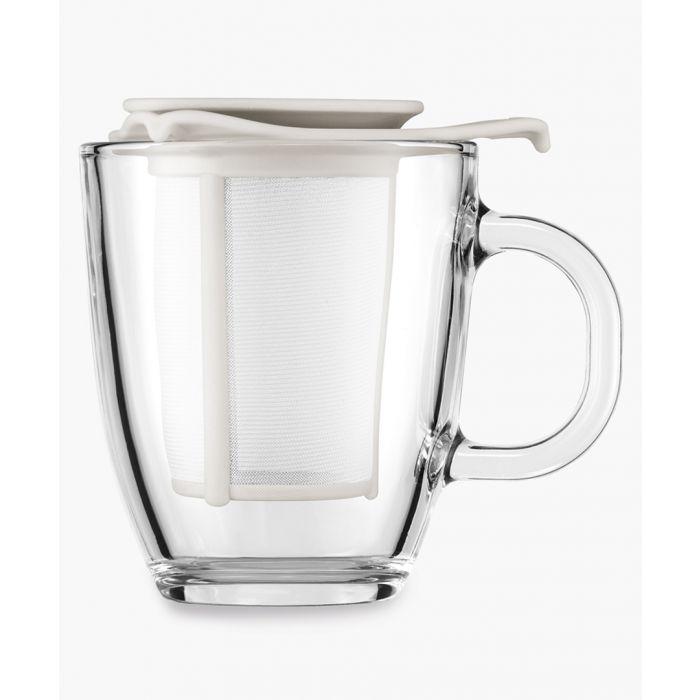 Image for White mug and tea strainer set