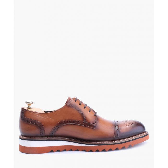 Image for Tan leather brogue detail shoes
