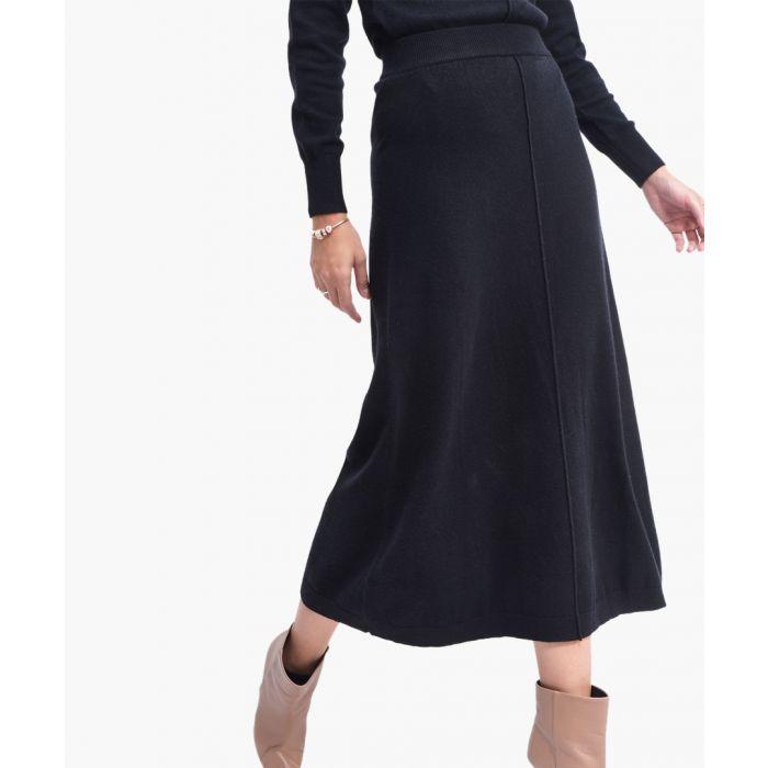 Image for Black cashmere blend skirt