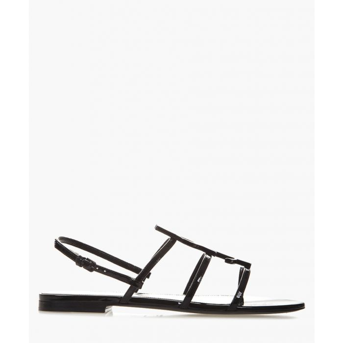 Image for Cassandra black patent leather flat sandals