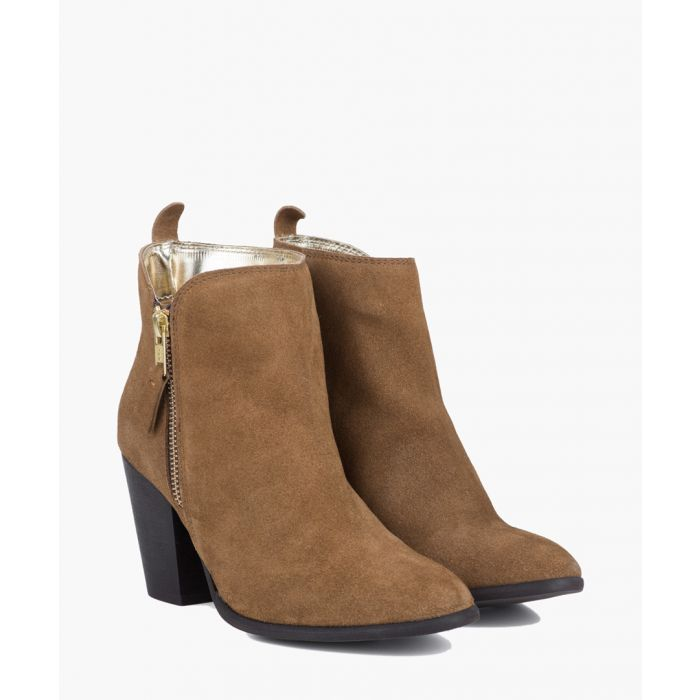Image for Tan water-resistant suede zip-up boots