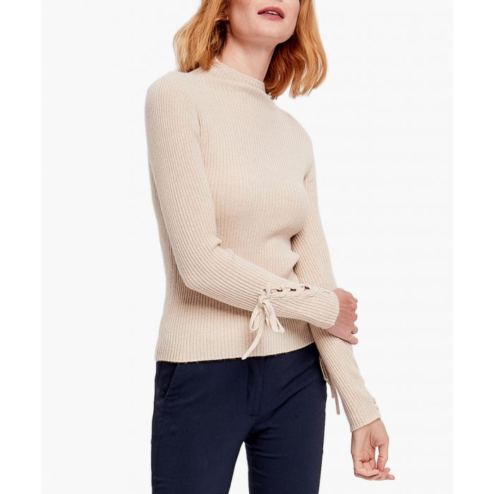 Image for Beige pure cashmere tie-sleeve jumper
