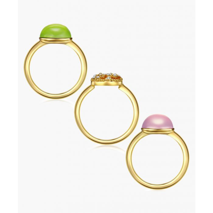 Image for 3pc gold-plated and facetted swarovski crystals ring set