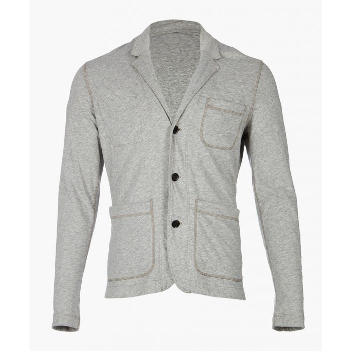 Image for grey cotton and wool blend cardigan