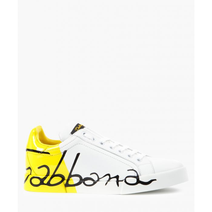 Image for Portofino white and yellow leather trainers