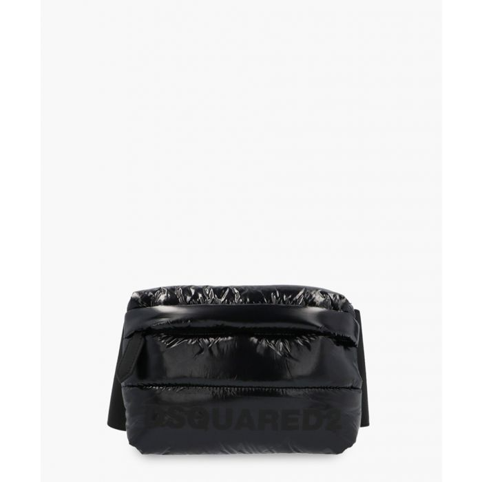 Image for Black glossy-effect quilted belt bag