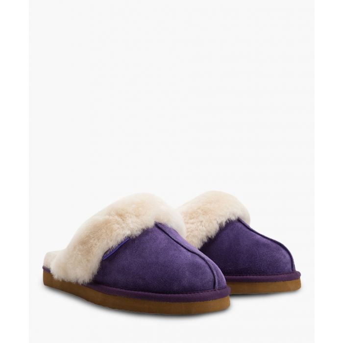 Image for Purple suede sheepskin slippers