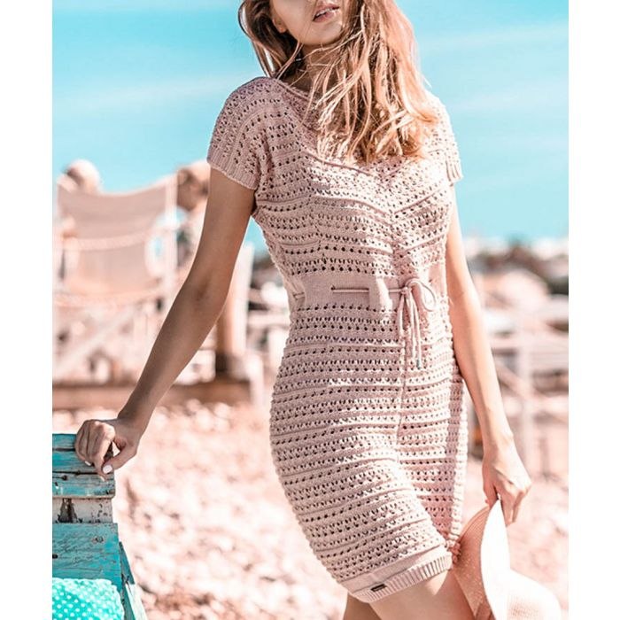 Image for Pink powder knitted wool and cotton blend dress