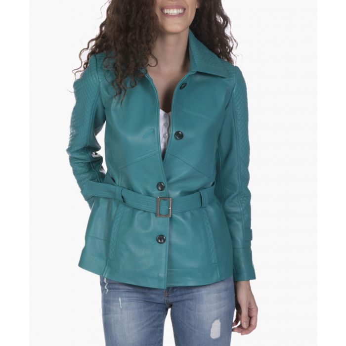 Image for Turquoise blue leather belted jacket