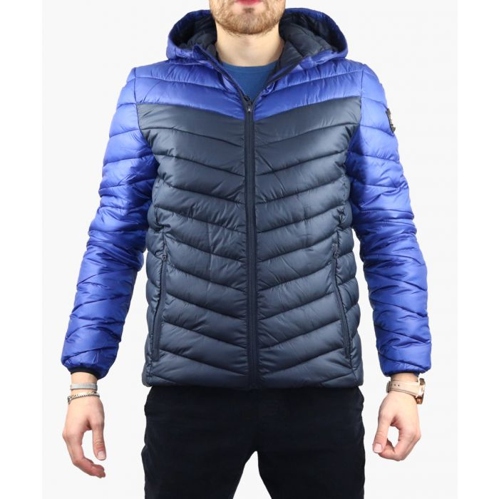 Image for Blue colour-block quilted jacket