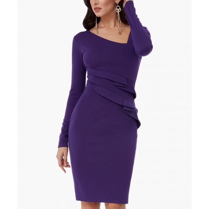 Image for Purple fitted midi dress with frill detail