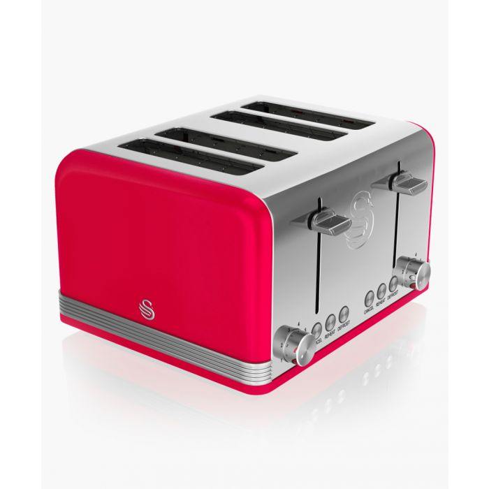 Image for Red retro 4-slice toaster