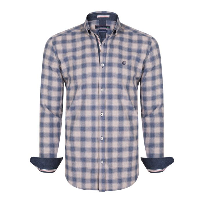 Image for Navy & beige pure cotton checked shirt