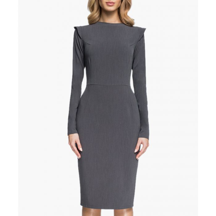 Image for Grey pleat detail fitted dress