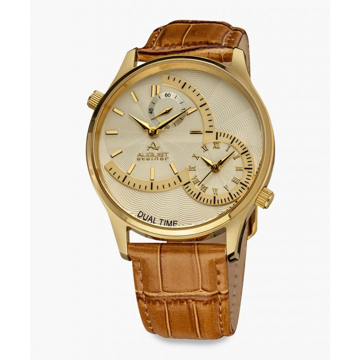Image for Gold-tone stainless steel and croc-embossed leather watch