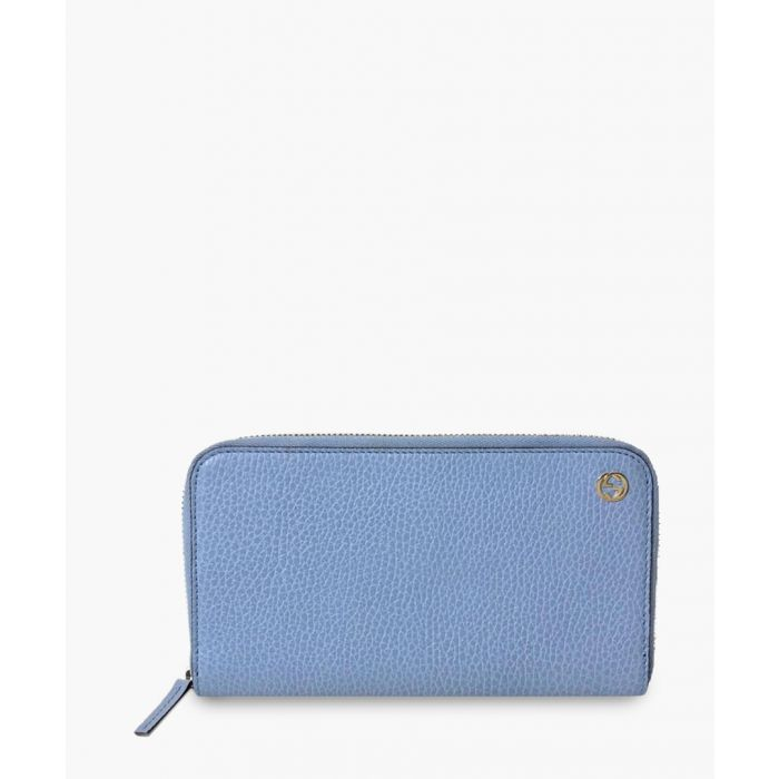 Image for Powder blue leather pebble zip purse