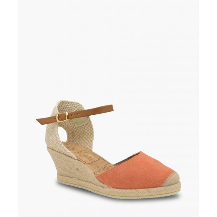 Image for Etna coral leather wedge sandals