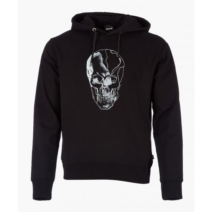 Image for Black cotton skull print hoodie