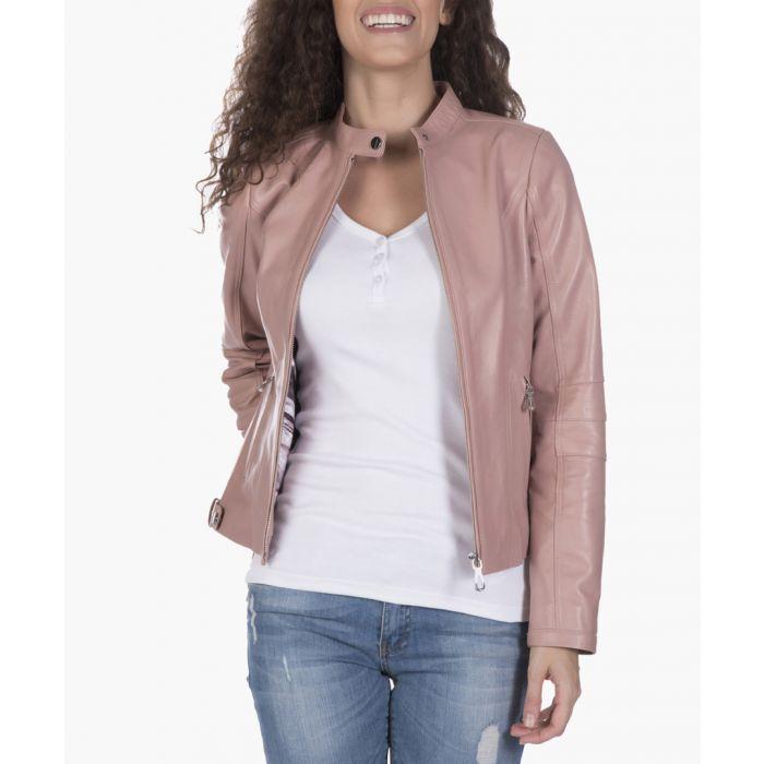 Image for Powder pink leather biker jacket