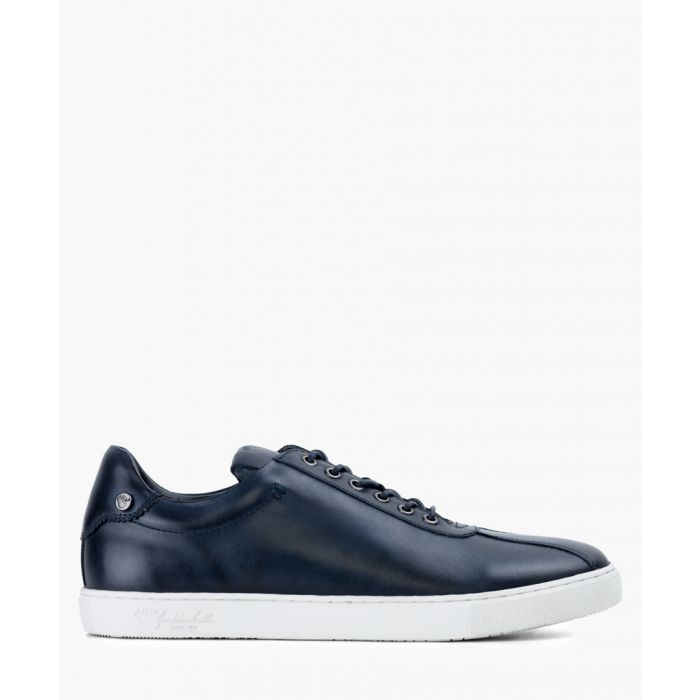 Image for Navy blue leather trainers