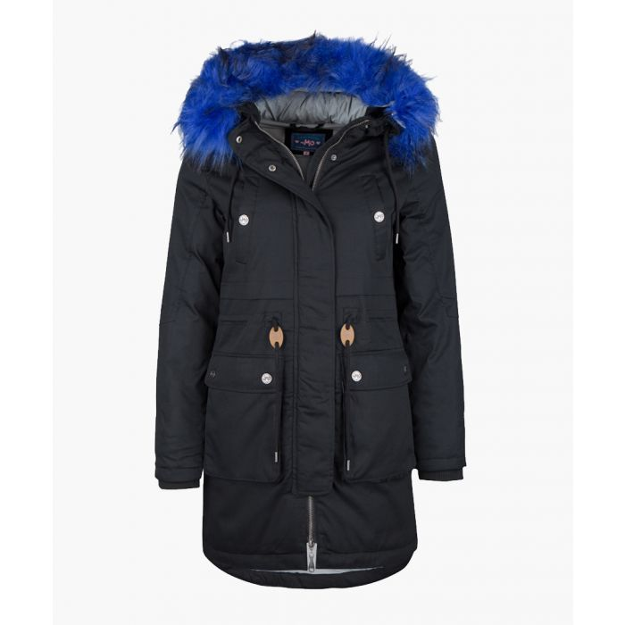 Image for Black and blue faux fur hooded parka