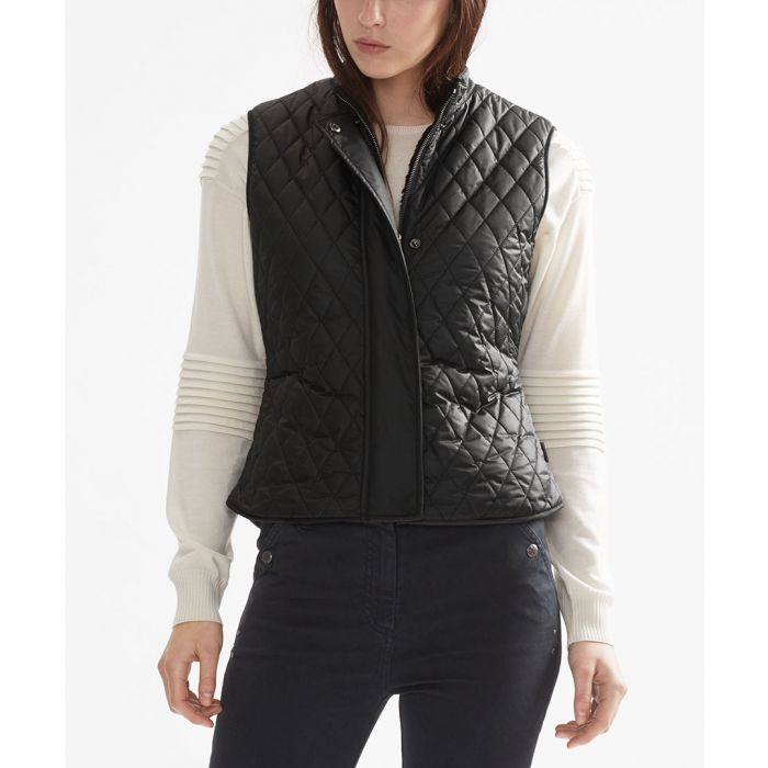 Image for Black quilted zip-up gilet