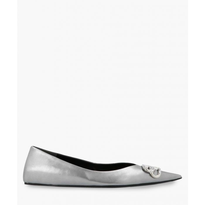 Image for Knife BB silver-tone leather ballet flats