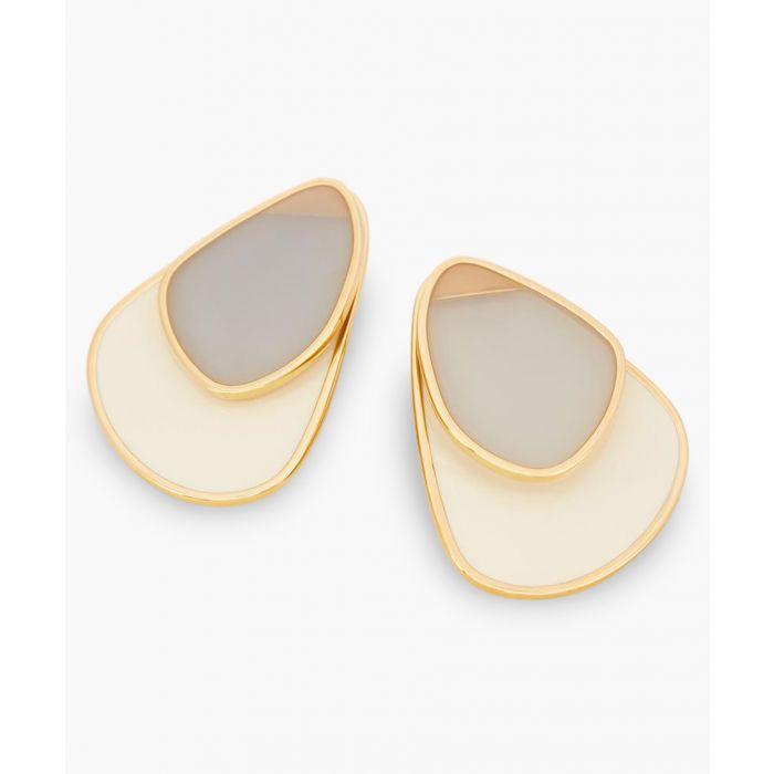 Image for Grey and beige medium petal earrings