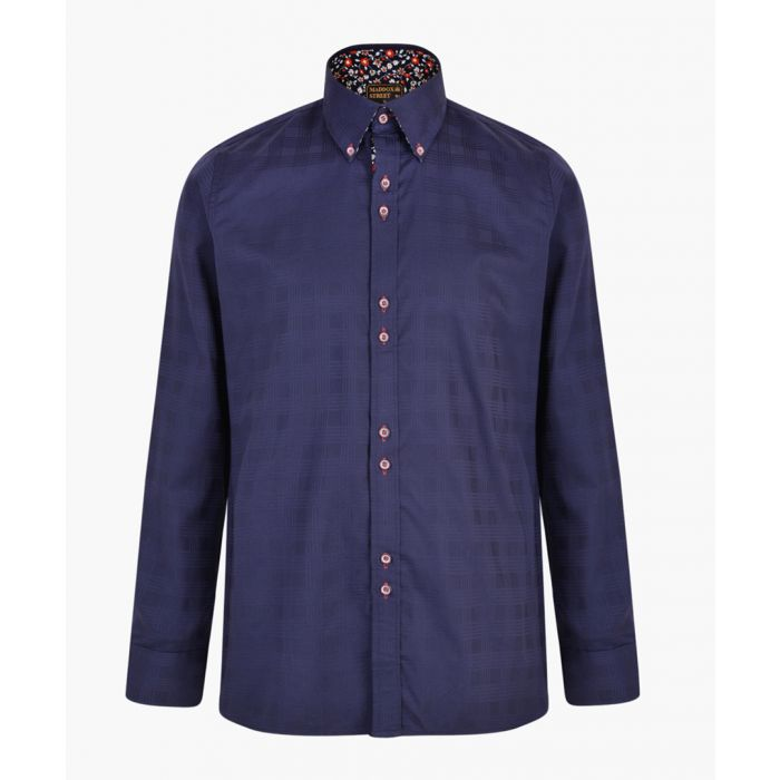 Image for Navy pure cotton printed shirt