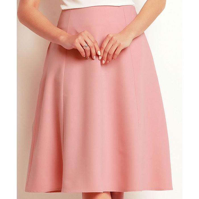 Image for Powder Pink flared knee-length skirt