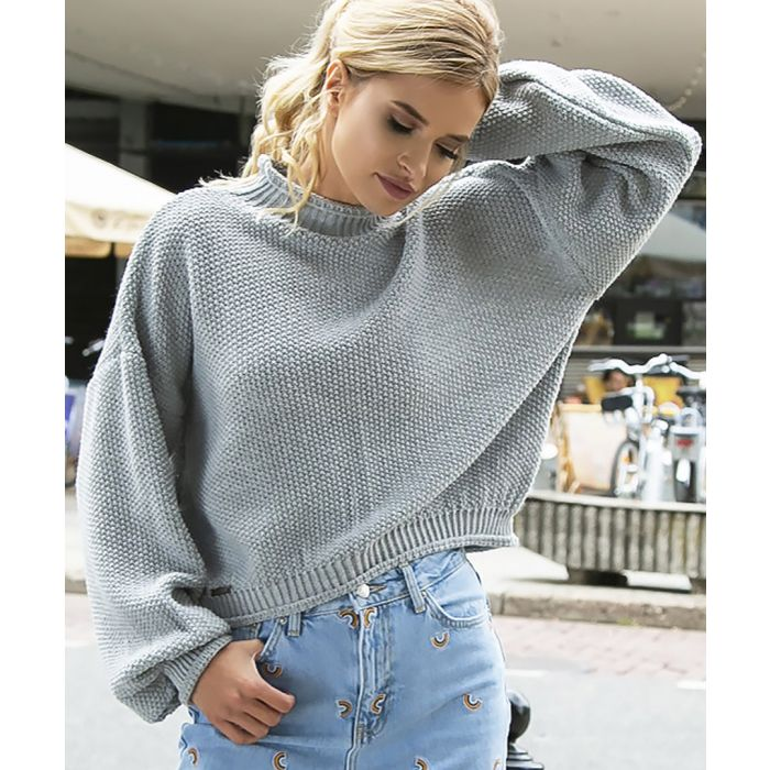 Image for Grey knitted wool blend sweater