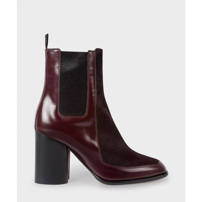 Image for Bordeaux leather block heel boots