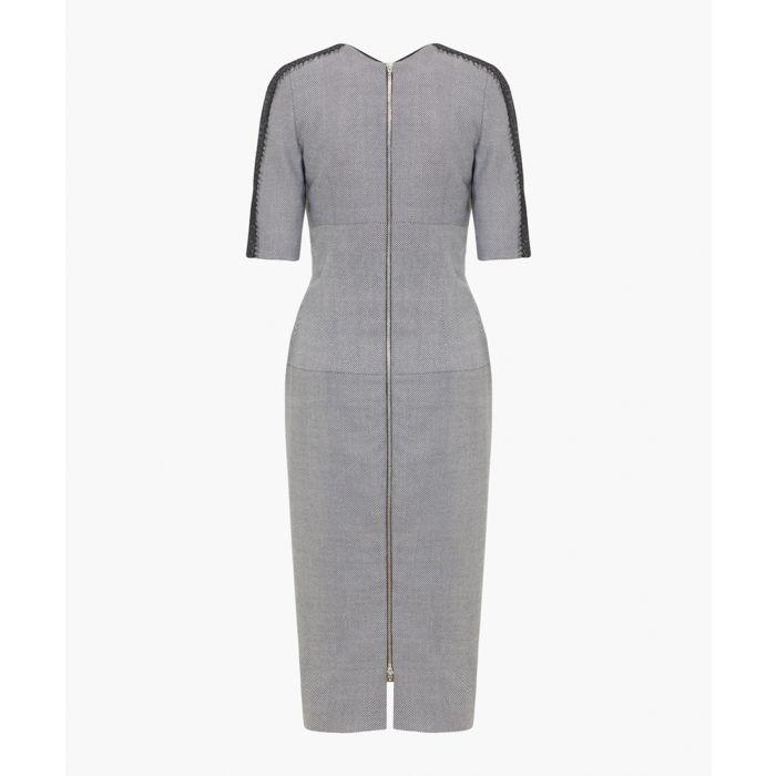 Image for Black and grey pure wool herringbone dress