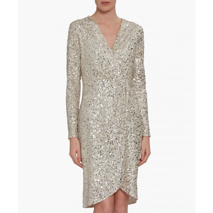 Image for Oyster nidia sequin wrap dress