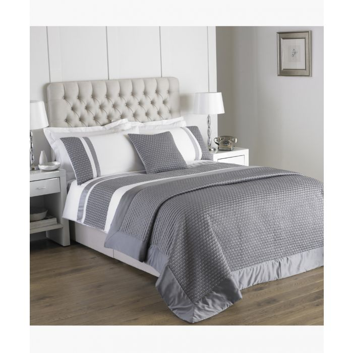 Image for Honeycomb silver-tone double duvet cover set