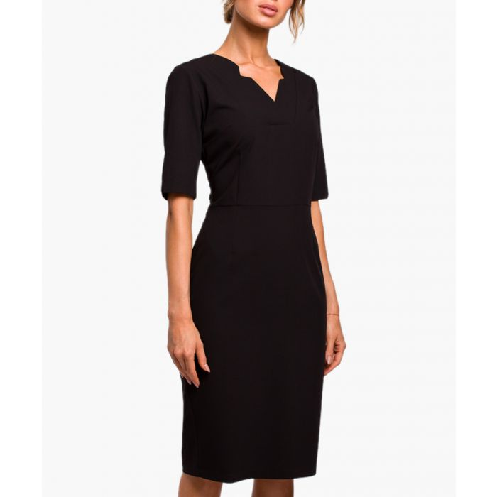 Image for Black three-quarter sleeve fitted dress