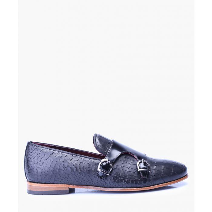Image for Black leather monkstrap shoes