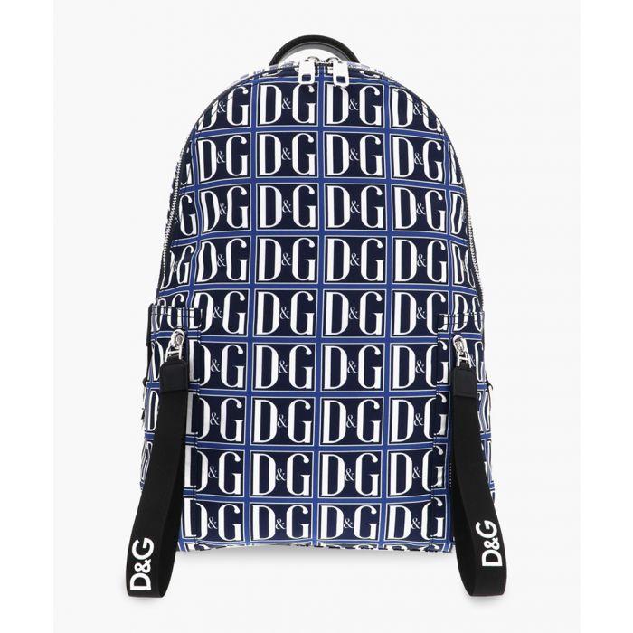 Image for Vulcano DG logo print leather-trimmed backpack